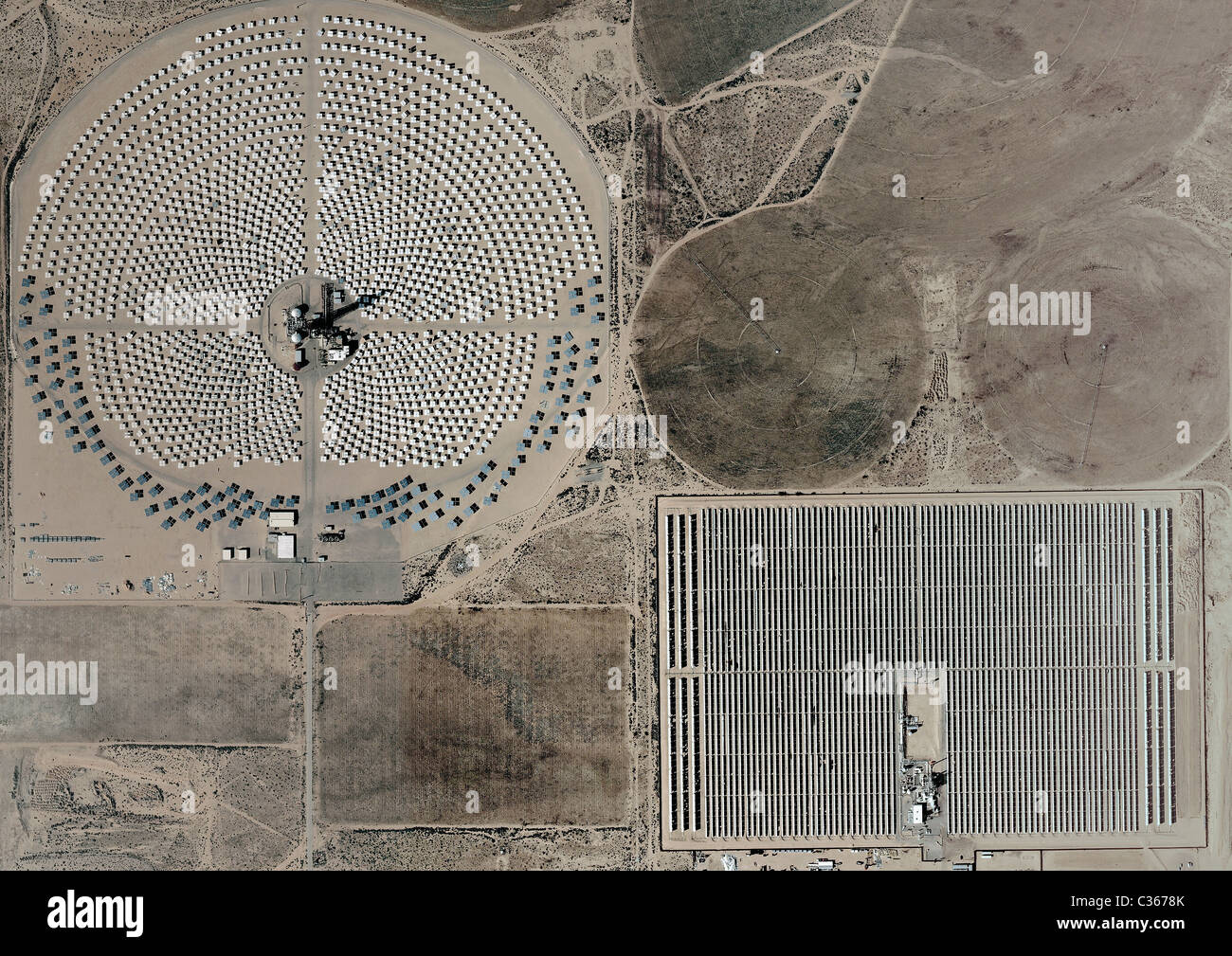 aerial map view above Solar Two electrical energy generation project mirrored heliostats Daggett California - Stock Image