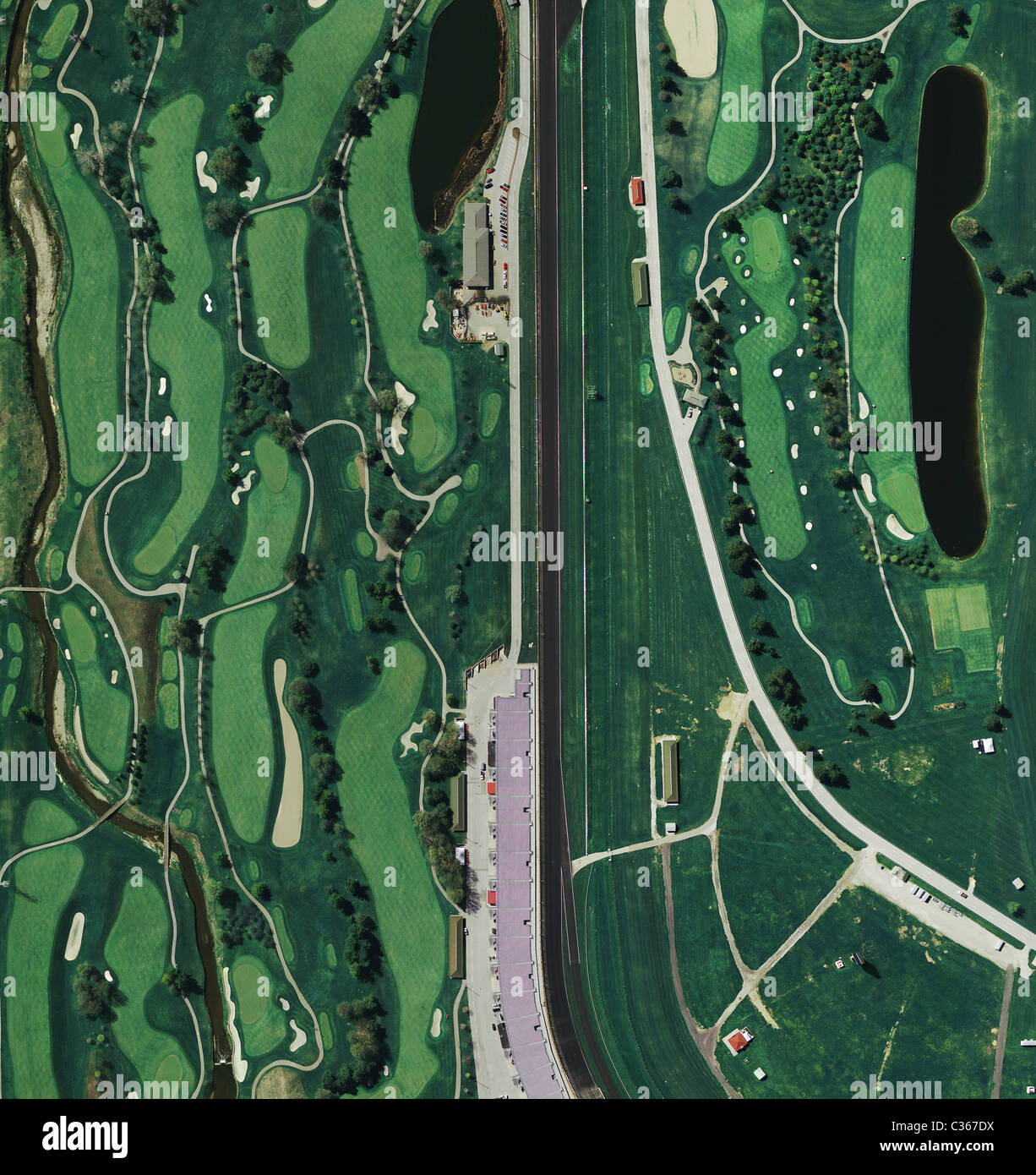 aerial map view above golf course at Indianapolis Motor Speedway Indiana Stock Photo