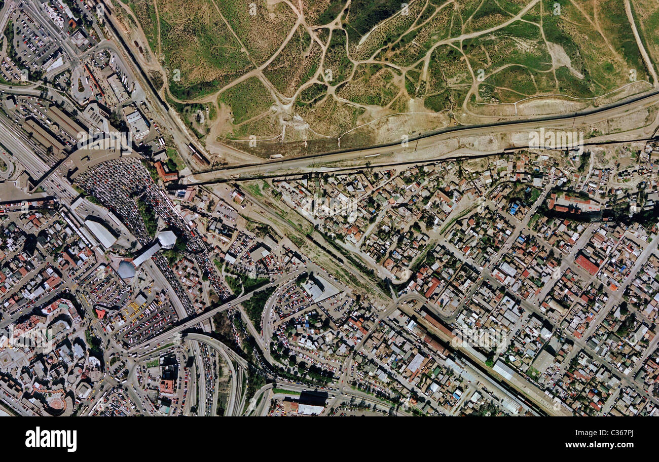aerial map view above Mexican American border Crossing San Ysidro