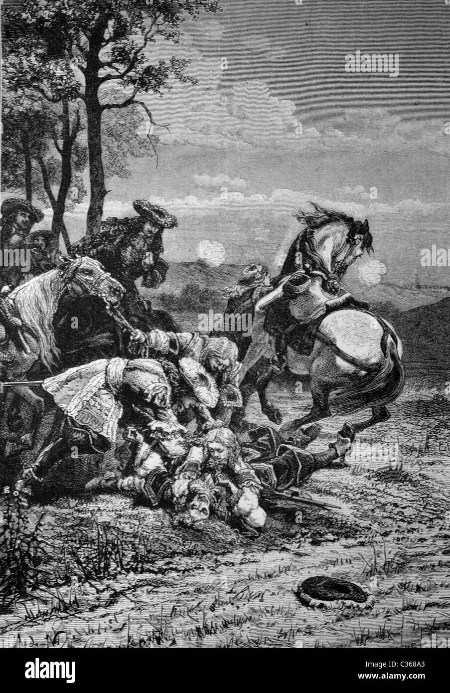 Dead of marshal Turenne at Sasbach, 27.7.1675, historical illustration - Stock Image