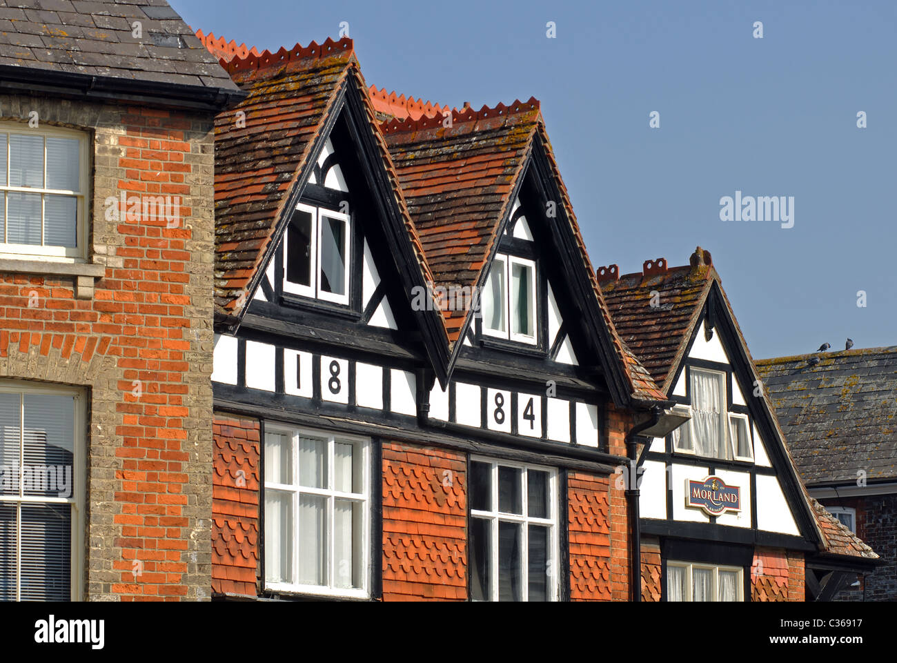 Buildings in Market Place, Wantage, Oxfordshire, England, UK - Stock Image