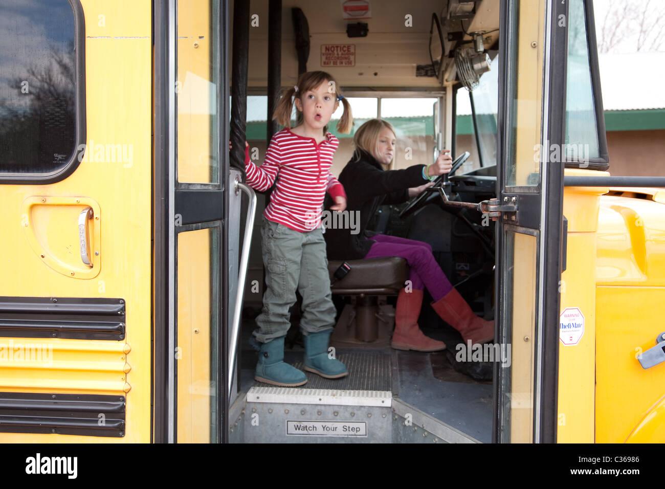 Girls on school bus