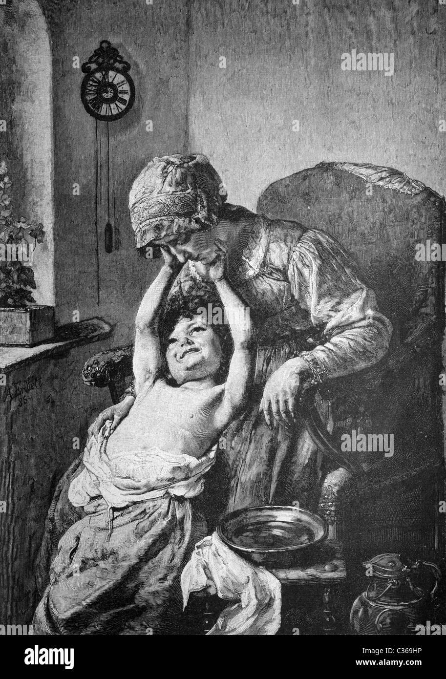 washing in the morning, historical image 1886 - Stock Image