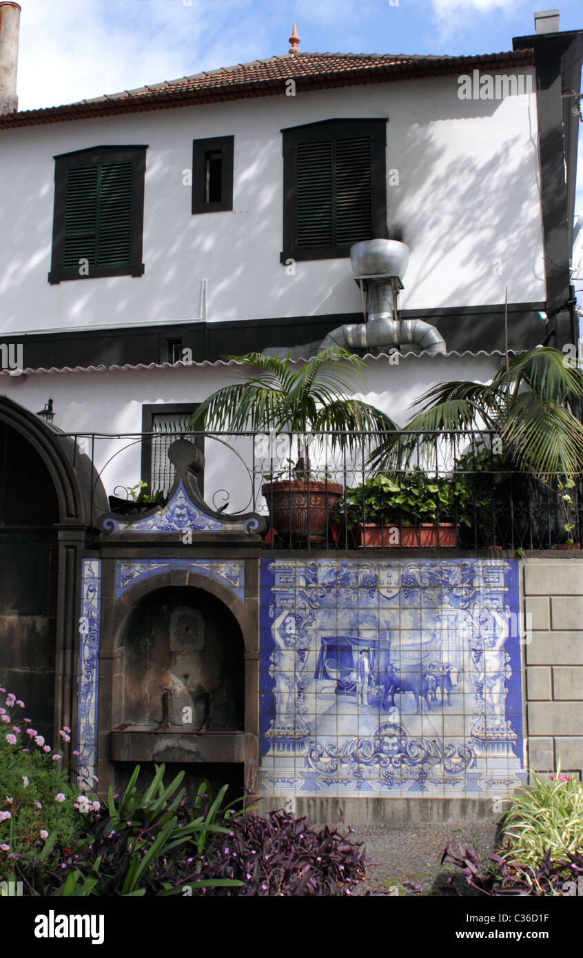 House in Funchal Madeira with Azulejos tiles - Stock Image