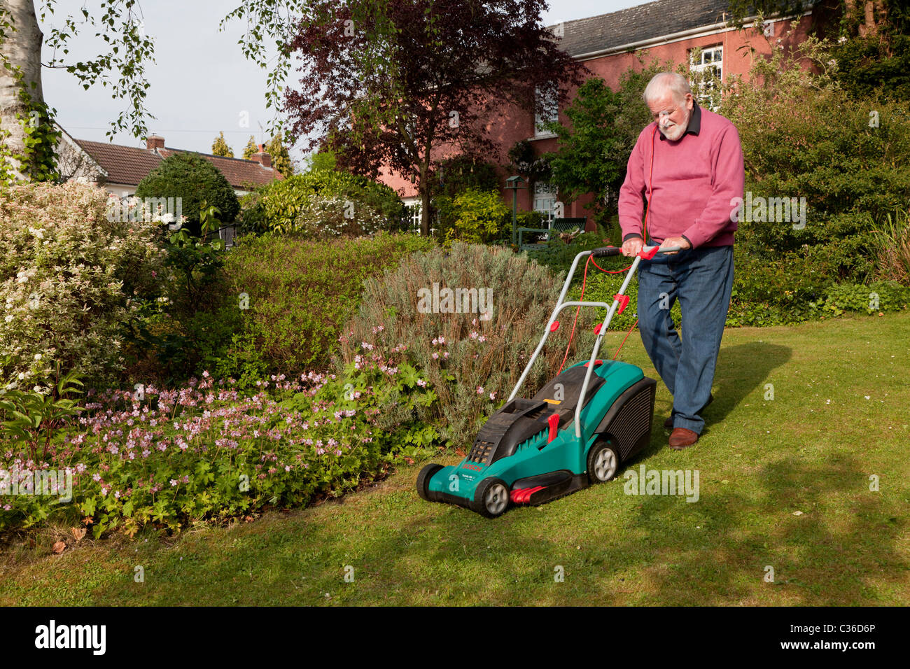 OLDER MAN MOWING LAWN WITH ELECTRIC MOWER UK - Stock Image