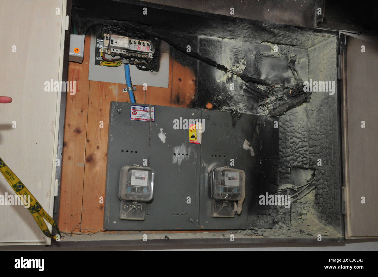 A fire broke out in a household electrical fuse box flames consumed the  board. The