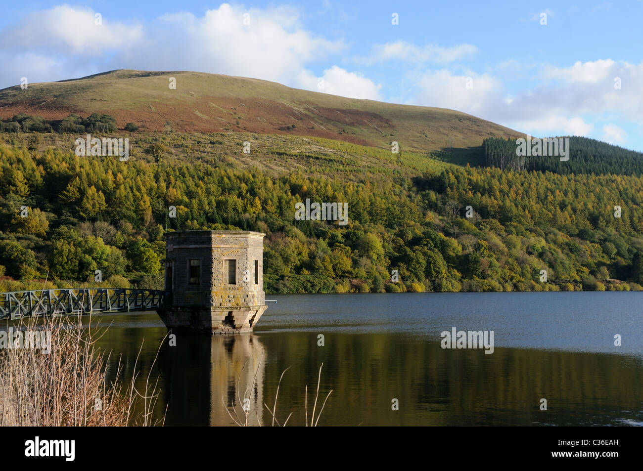 Talybont Reservoir in the Brecon Beacons of Wales - Stock Image