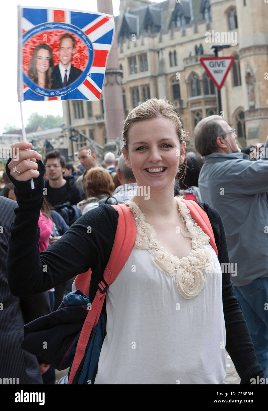The Wedding of Prince William and Catherine Middleton. 29th April 2011  Crowds gather in London to celebrate the - Stock Image