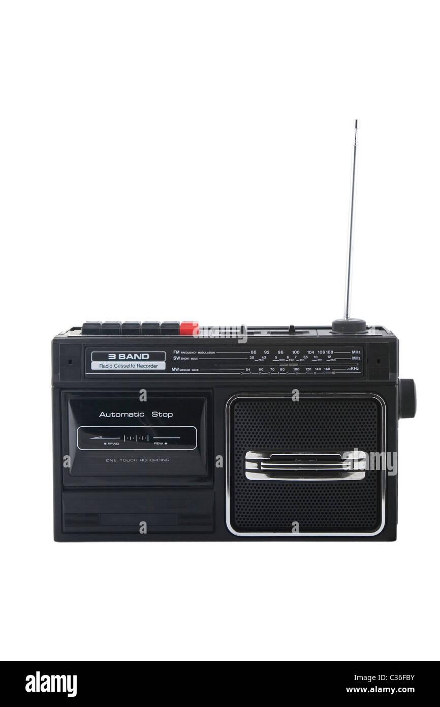 Vintage radio cassette recorder, isolated on white - Stock Image