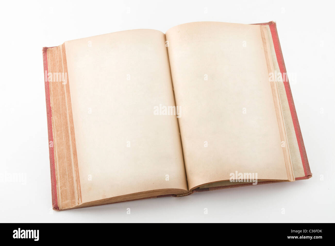 front view of open book with blank pages - Stock Image