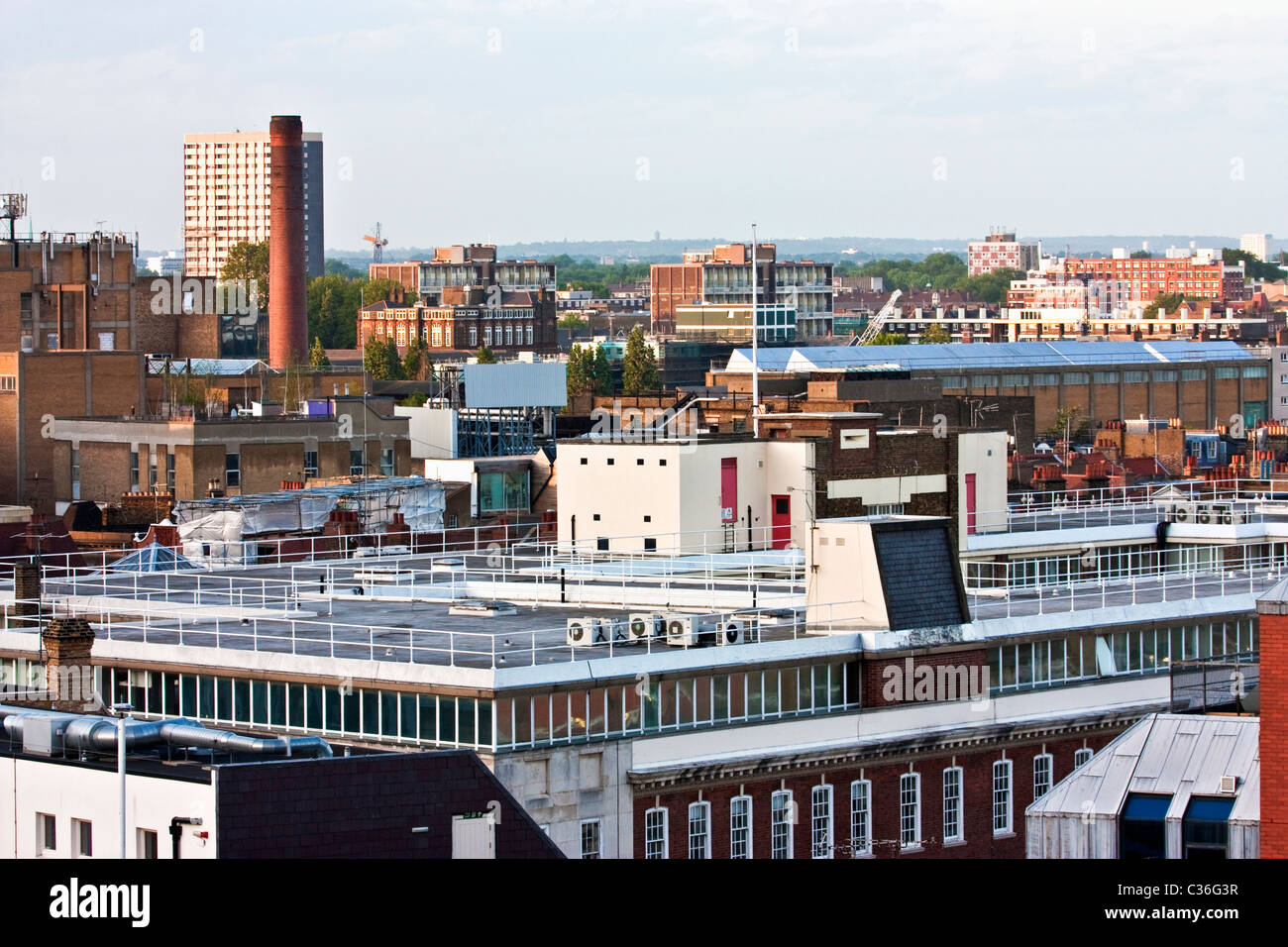 The skyline of east london looking towards bethnal green - Stock Image