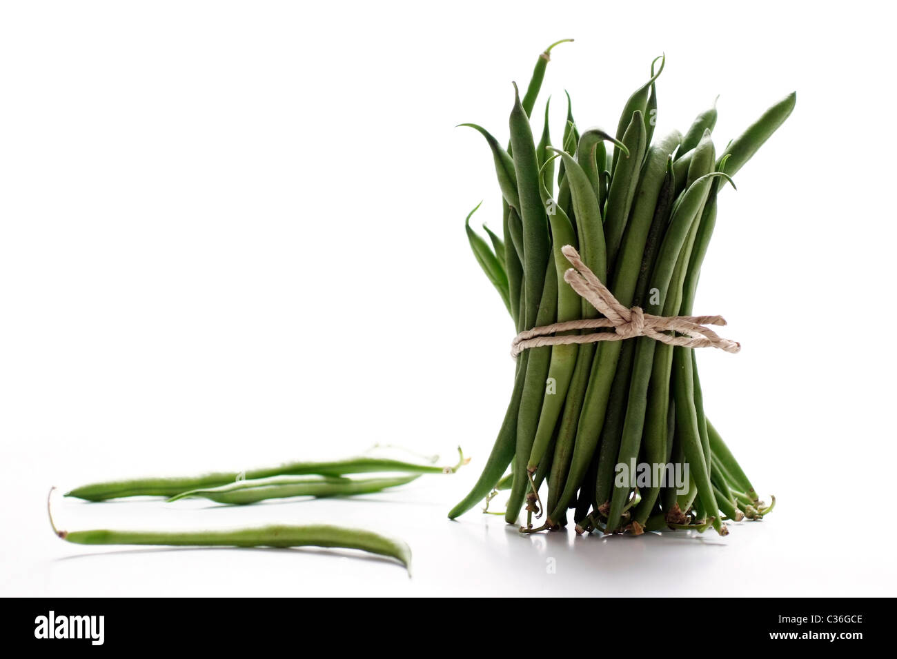 Bunch of fresh green beans - Stock Image
