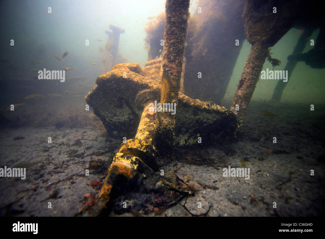 Wreckage of the Ilsenstein, one of the blockships on the seabed at Churchill Barrier No.2, Scapa Flow, Orkney - Stock Image