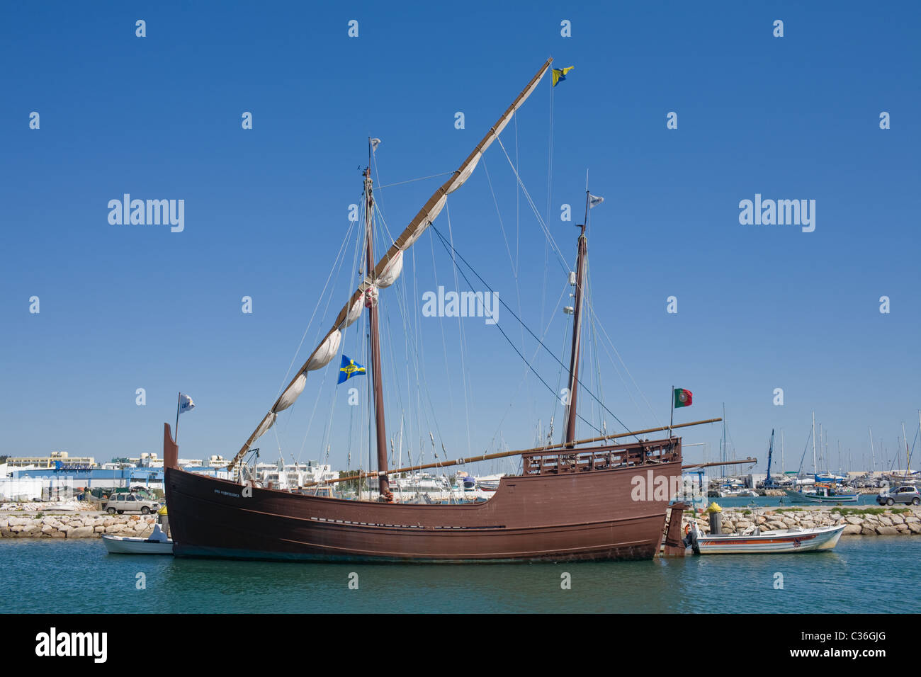 The boat that changed the world, a caravel, lateen sails, in Lagos harbor, Portugal, the Algarve - Stock Image