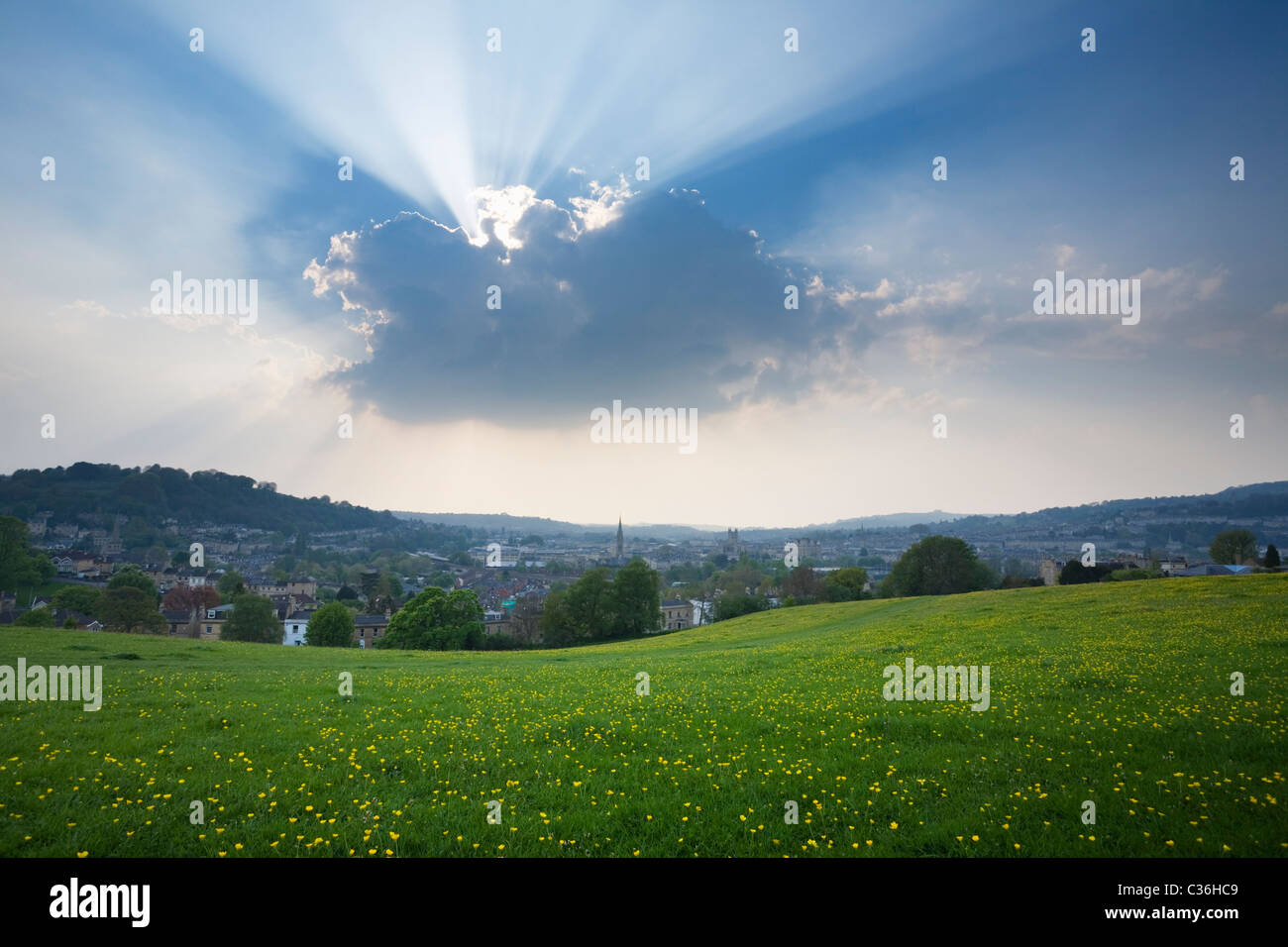 Bath City Skyline from Bathwick Hill in Spring. Somerset. England. UK. - Stock Image