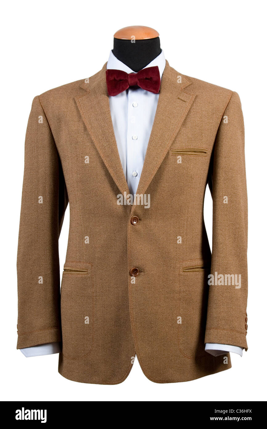 front view of elegant brown suit with red bow tie business fashion
