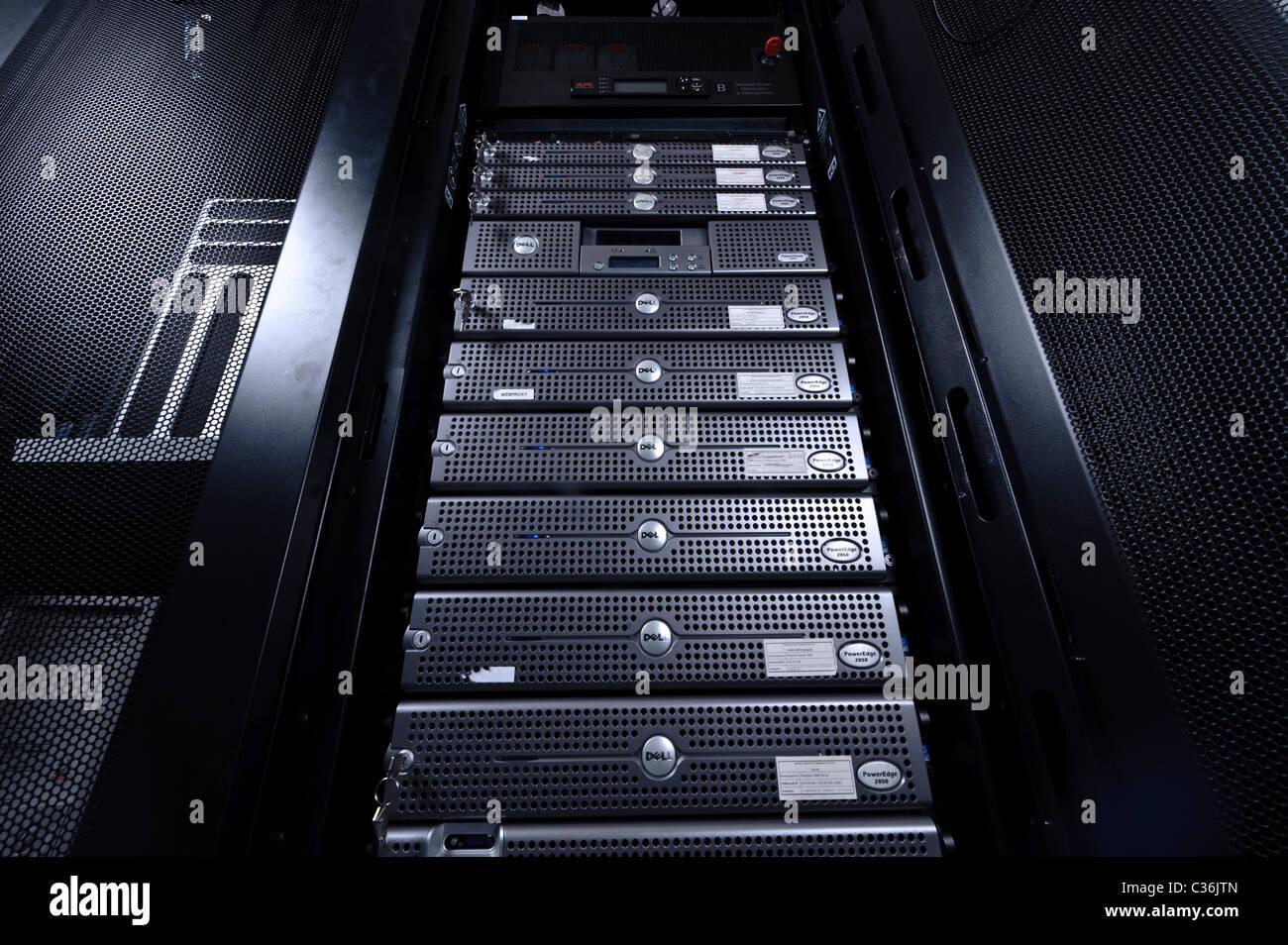 Low angle shot of server room Stock Photo