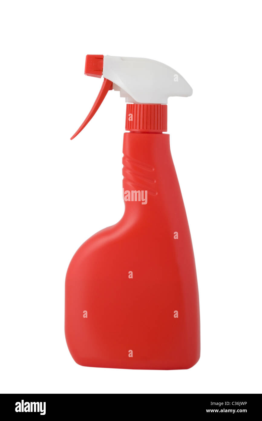 RED PULVERIZER, ATOMIZER, CLEANING SPRAY ON WHITE BACKGROUND - Stock Image