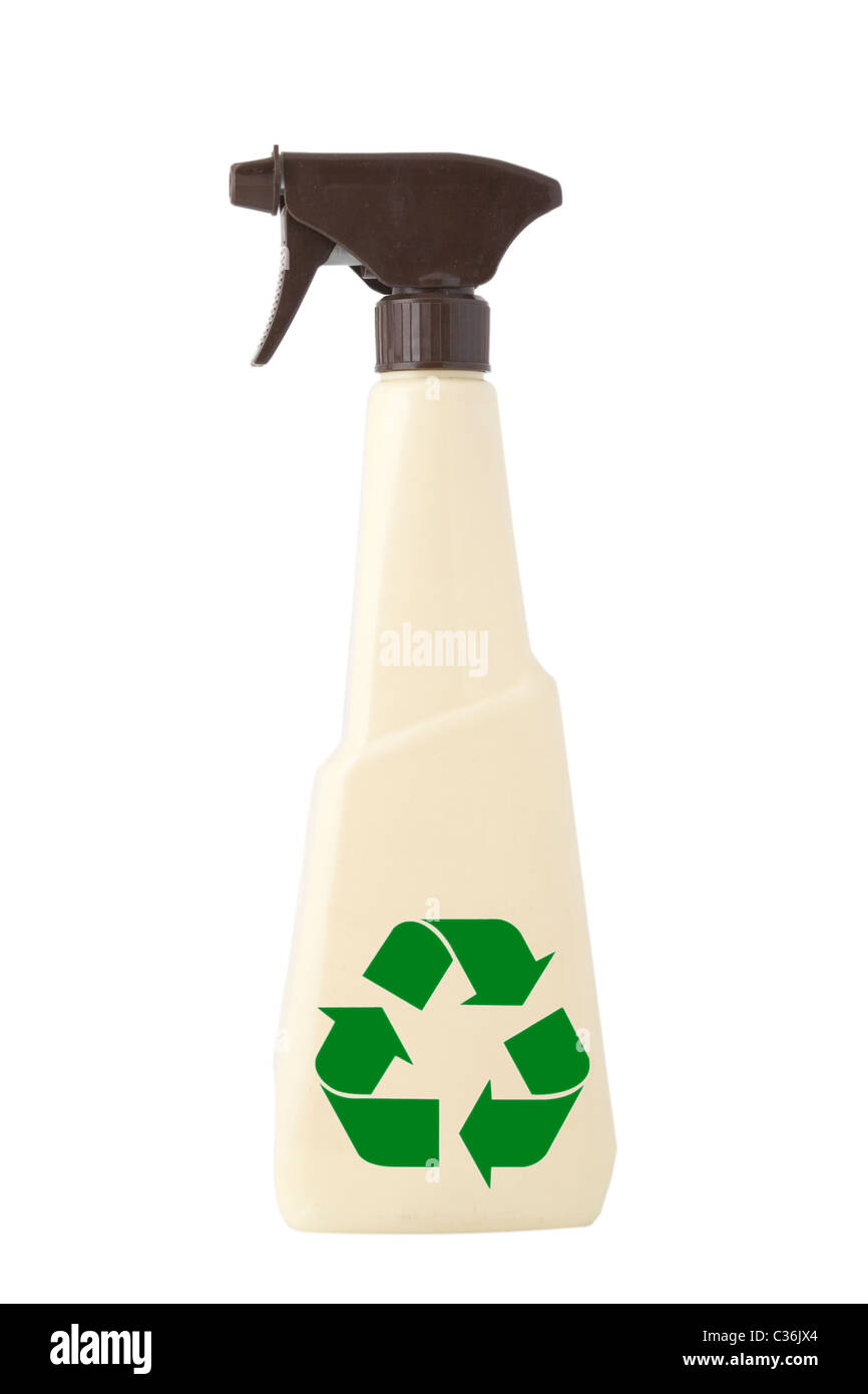 TAN PULVERIZER, ATOMIZER, CLEANING SPRAY ON WHITE BACKGROUND and green recycling sign - Stock Image