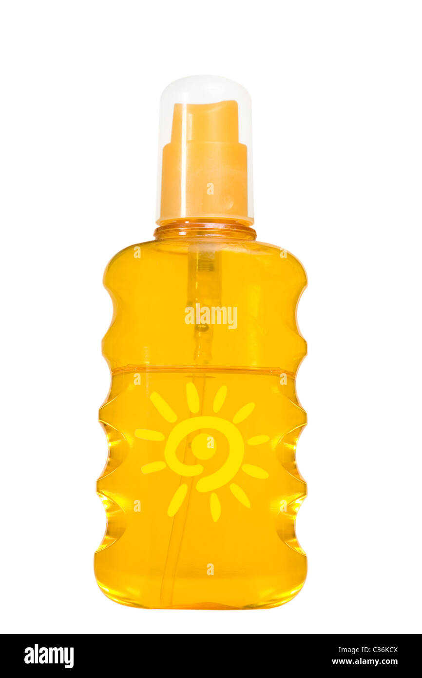 oil product, sun protection on white background - Stock Image