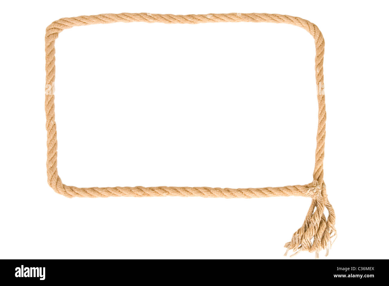 frame made from rope on white background - Stock Image