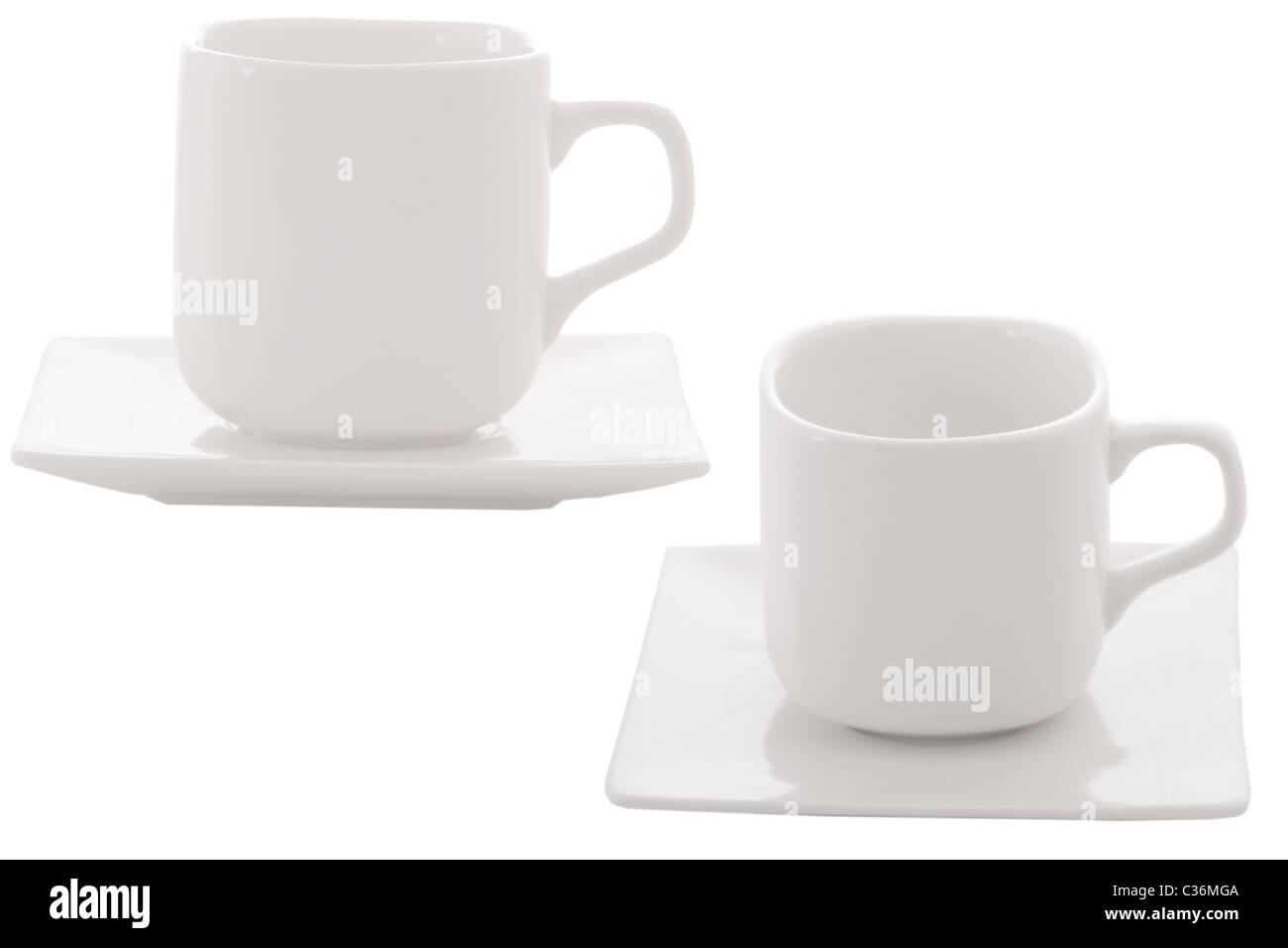different point of view from coffee cup on white background - Stock Image