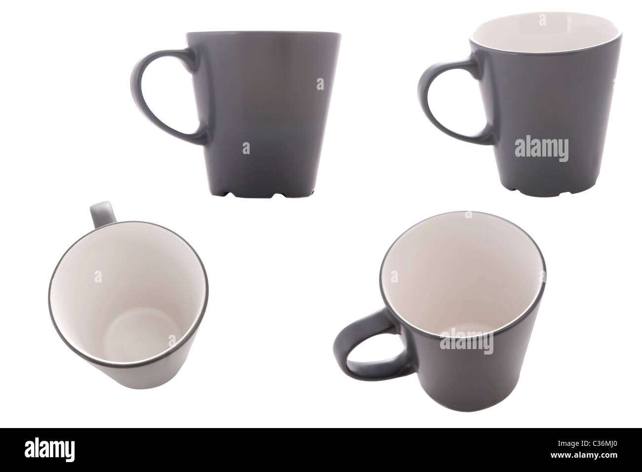 different point of view from cup on white background - Stock Image