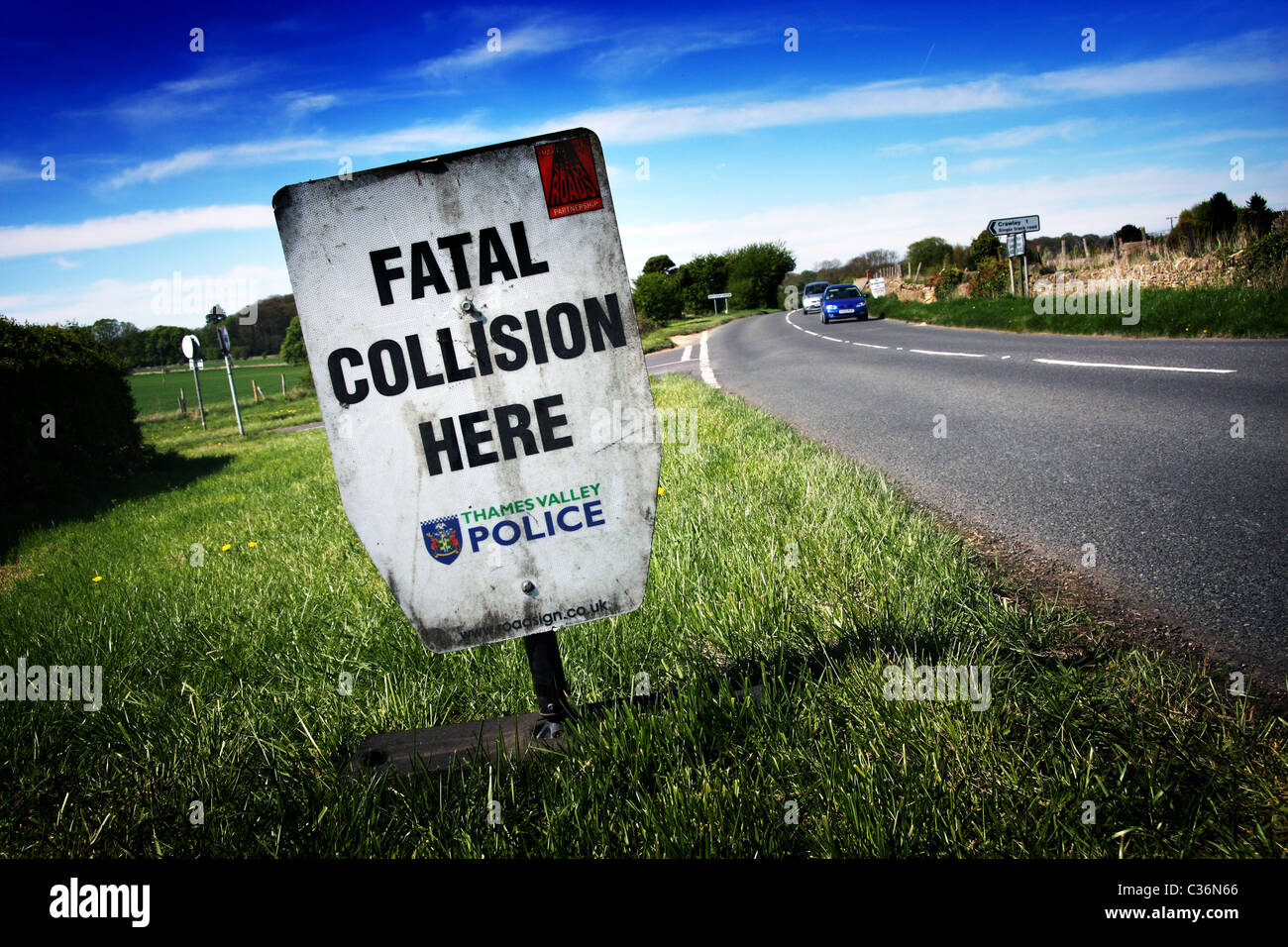 Fatal Collision Here Sign in Oxfordshire - Stock Image