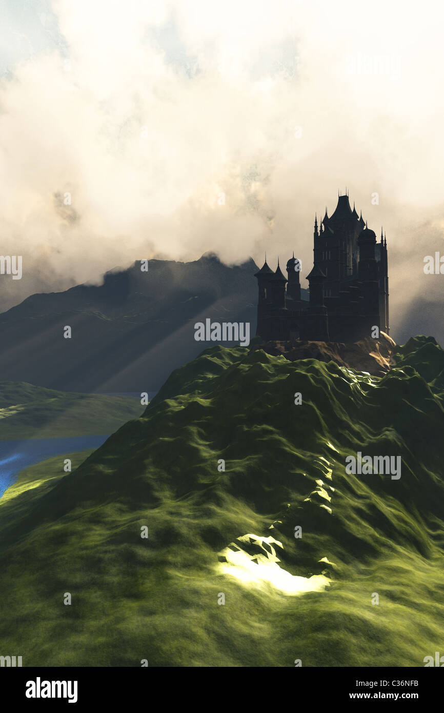 A beautiful castle sits on the top of a hill overlooking a lush green river valley. - Stock Image