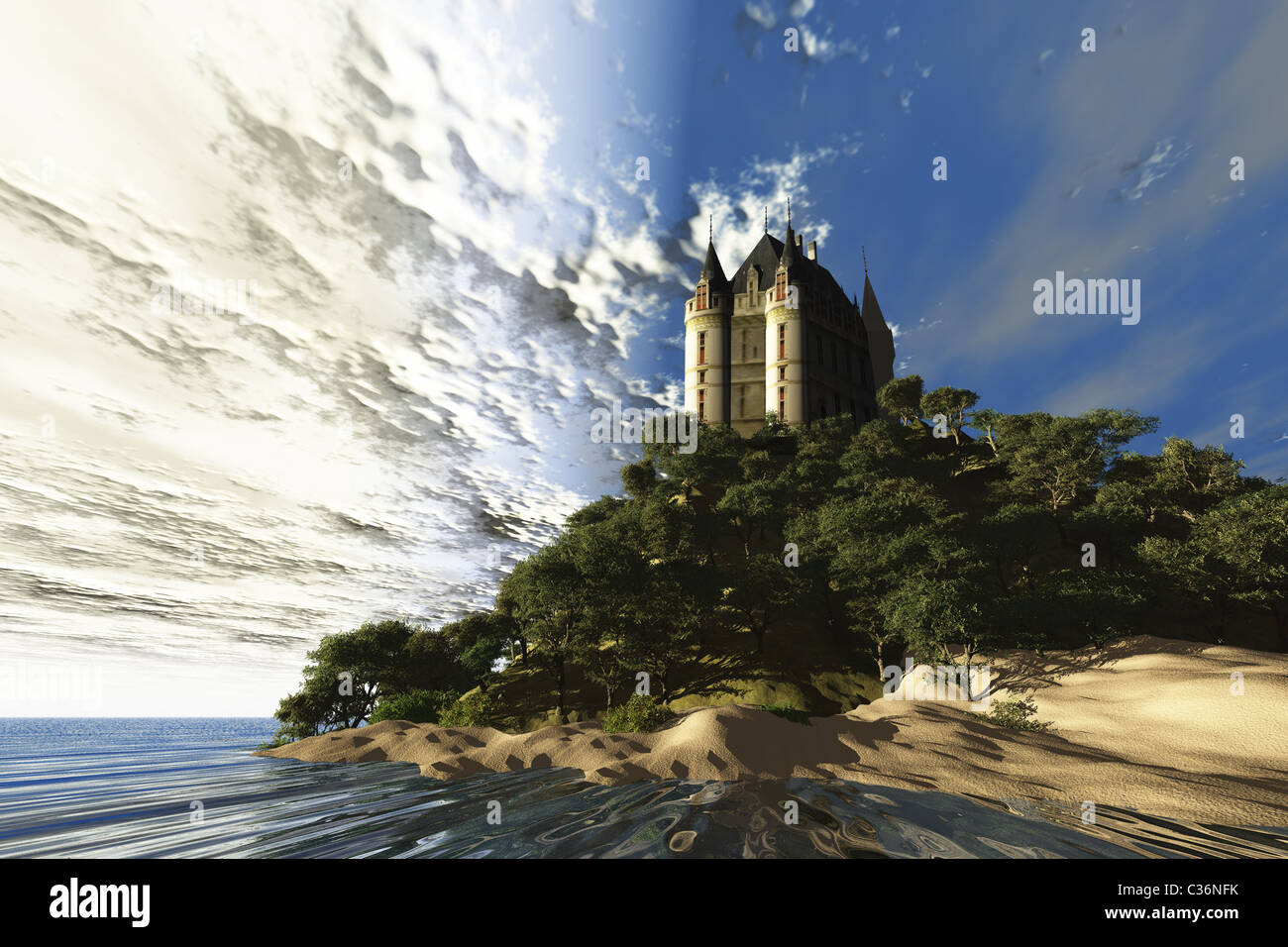 A beautiful castle sits majestically on a hill overlooking the ocean. - Stock Image