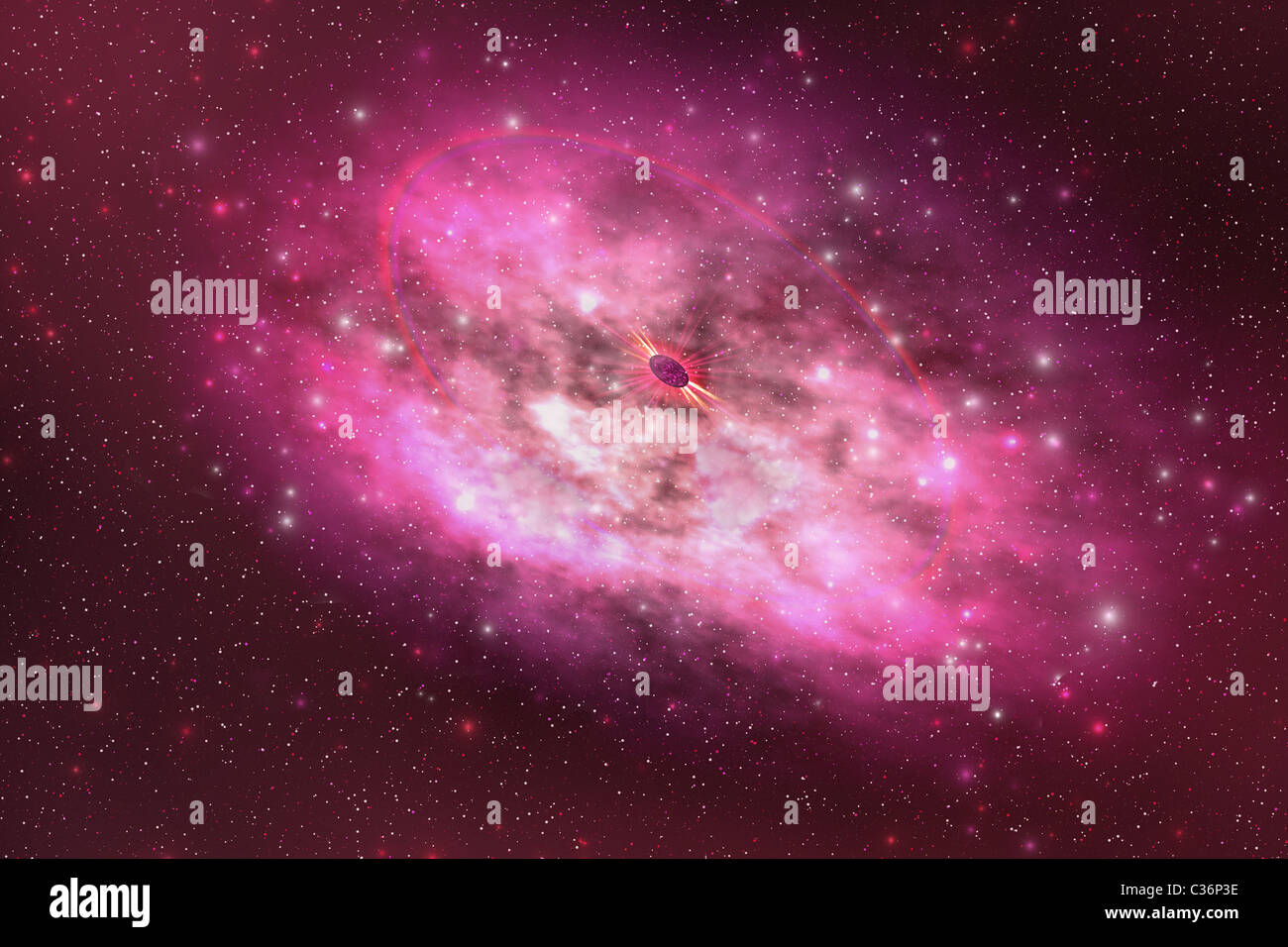A huge nebula contains millions of stars and planets. Stock Photo