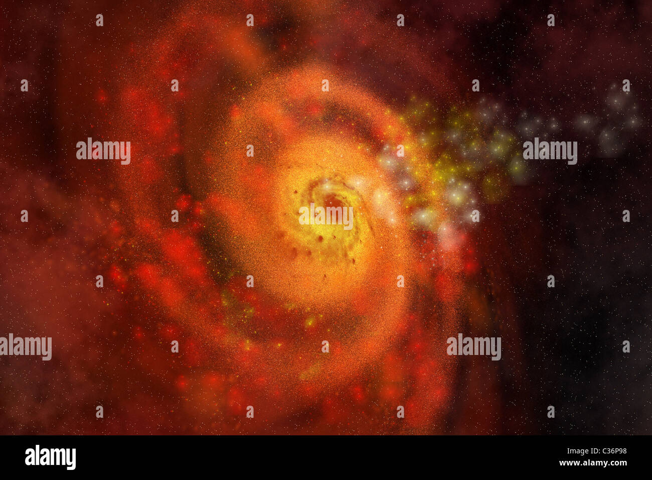 A collection of stars and gasses make up a beautiful spiral galaxy out in space. - Stock Image