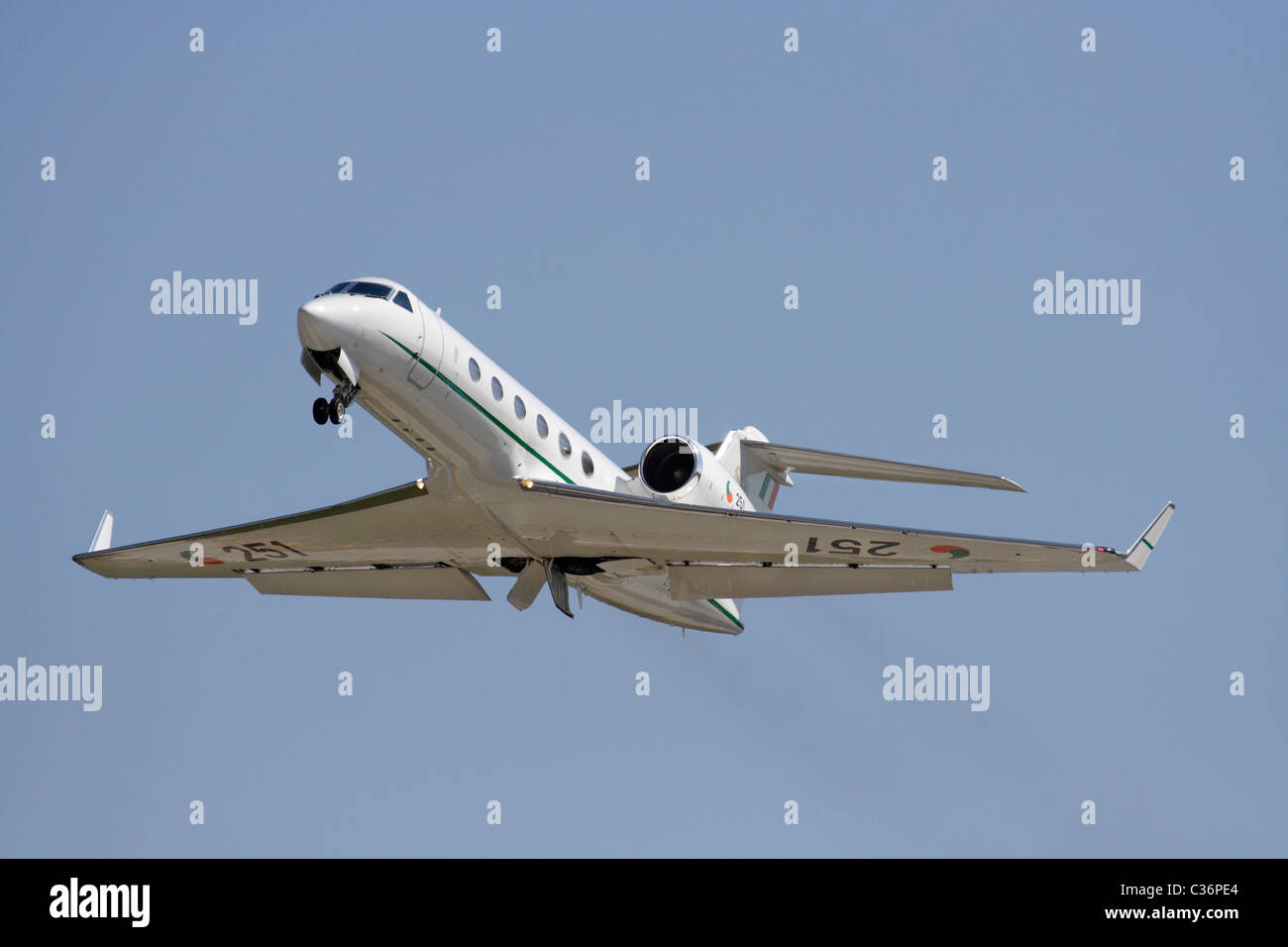 Irish Air Corps Gulfstream IV executive jet plane, used in an official VIP transport role, on takeoff - Stock Image