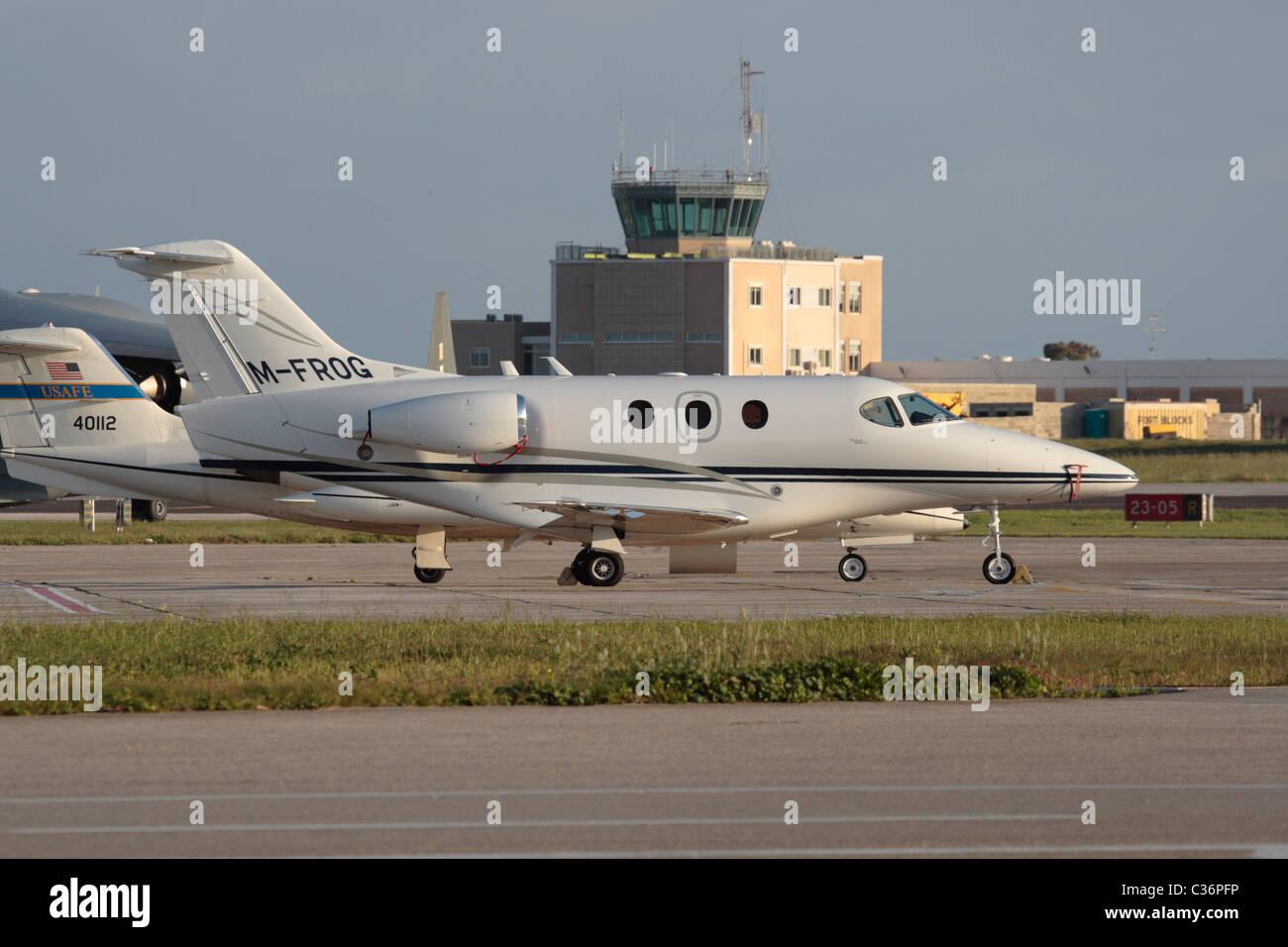 Beechcraft (formerly Raytheon) Premier IA light business jet parked at Malta International Airport - Stock Image