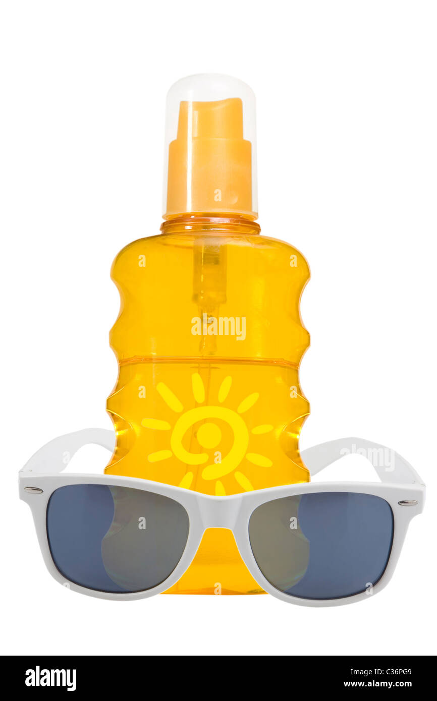 oil product, sun protection and sunglasses on white background - Stock Image