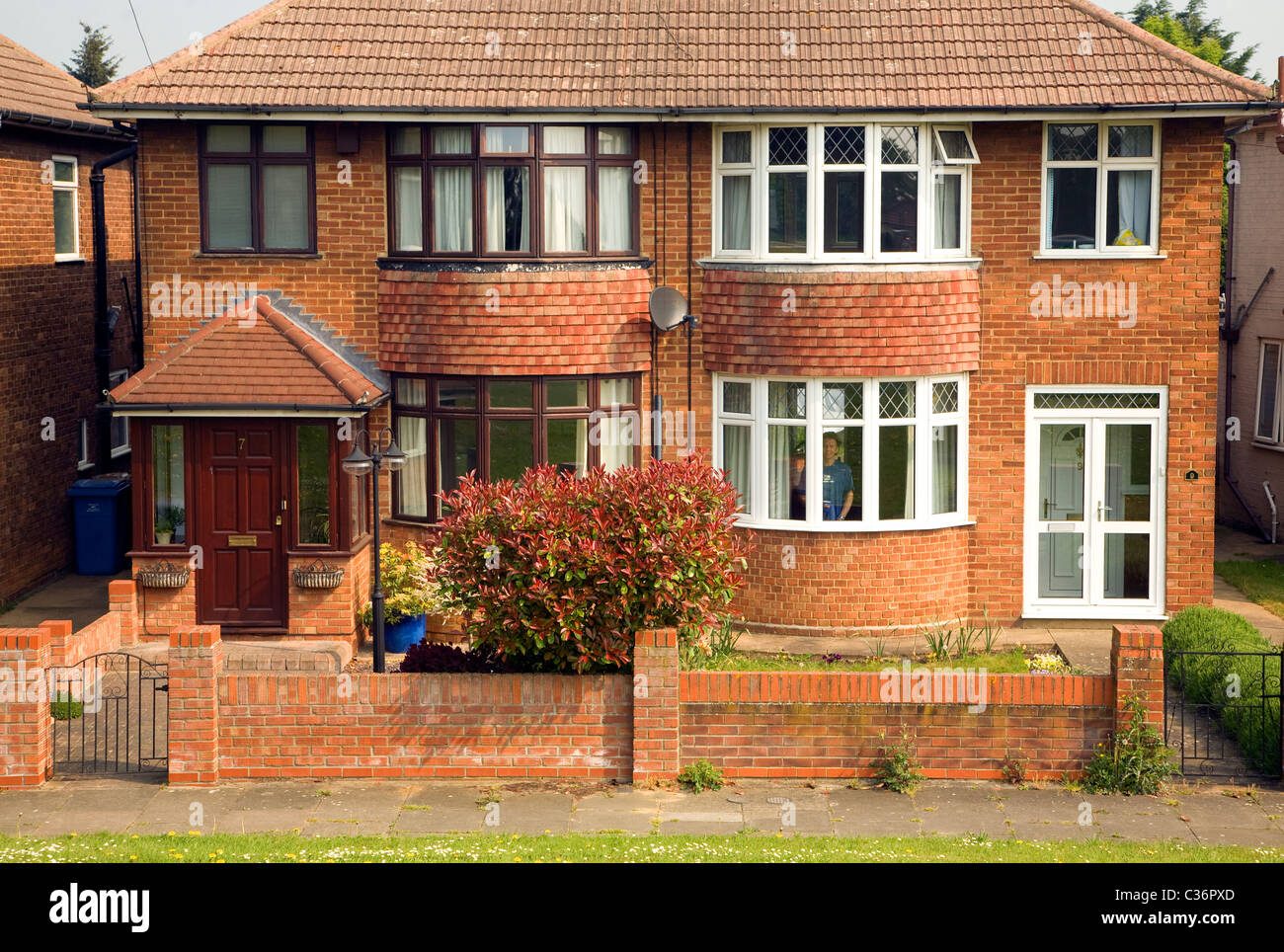 Semi-detached house bay windows 1930s Ipswich Suffolk England man person inside house smiling - Stock Image