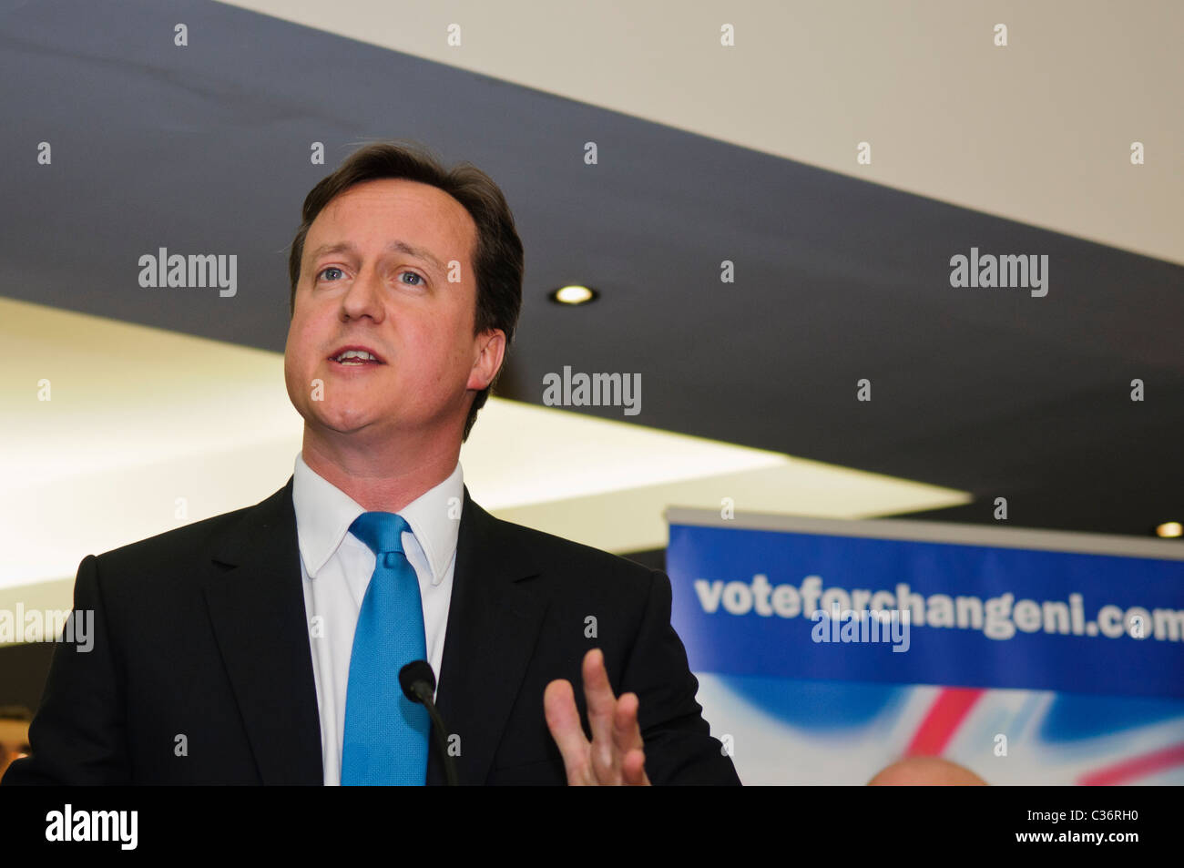 David Cameron visits the Ulster Unionist Party, Belfast, May 2010 Stock Photo