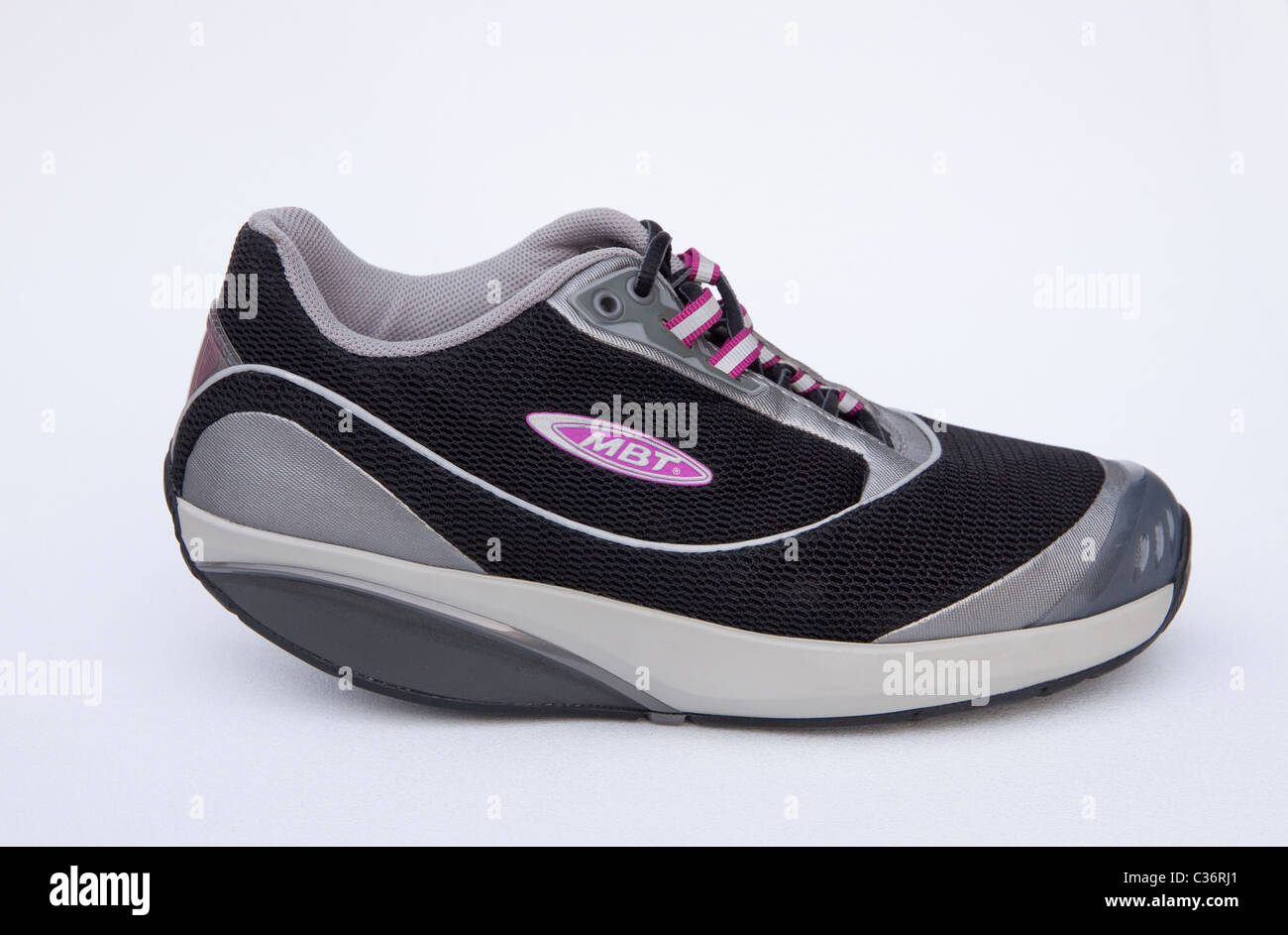 bc42c9692189 MBT (Masai Barefoot Technology) toner sneakers have a rounded sole to  simulate barefoot walking on soft