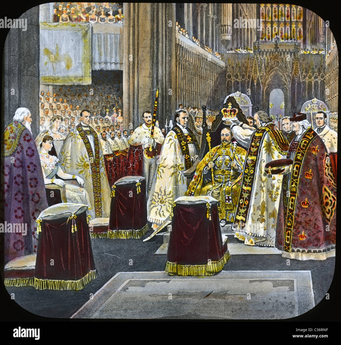 Circa 1901 hand-colored illustration of the coronation of Edward VII. - Stock Image