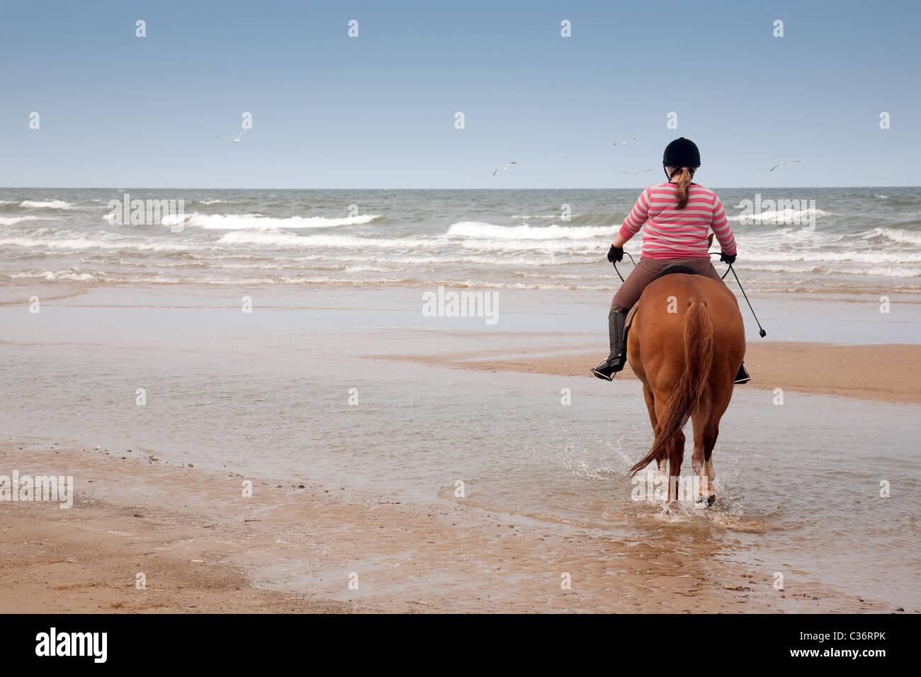 A teenage girl on her horse,Holkham beach, North Norfolk, UK - Stock Image