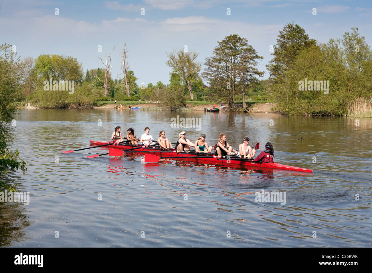 A ladies rowing eight on the River Thames at Wallingford Oxfordshire UK - Stock Image