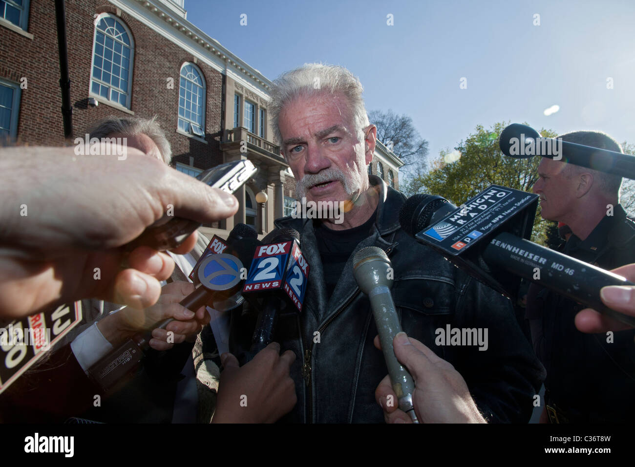 Quran-Burning Pastor from Florida Gets Hostile Reception in Michigan - Stock Image