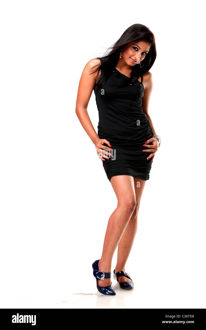 e08e498fde Indian girl in black dress in white background Stock Photo: 36415602 ...