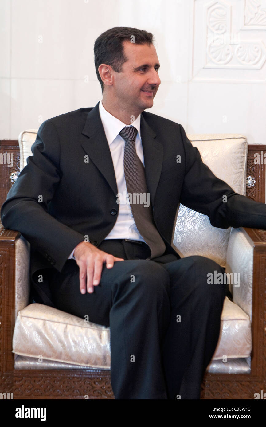 Syrian President, Bashar al-Assad , during a meeting with Western journalists at the People's Palace in Damascus. - Stock Image