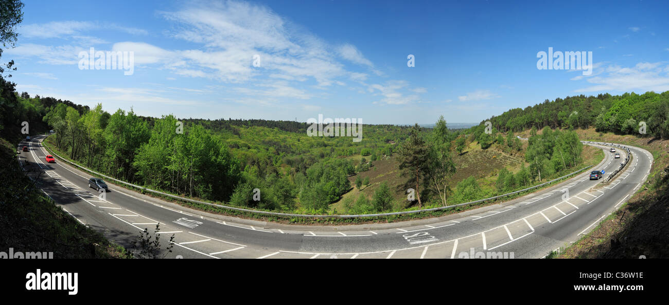 The London to Portsmouth road A3, at the Devils Punchbowl Hindhead before the relief tunnel. April 2011. - Stock Image