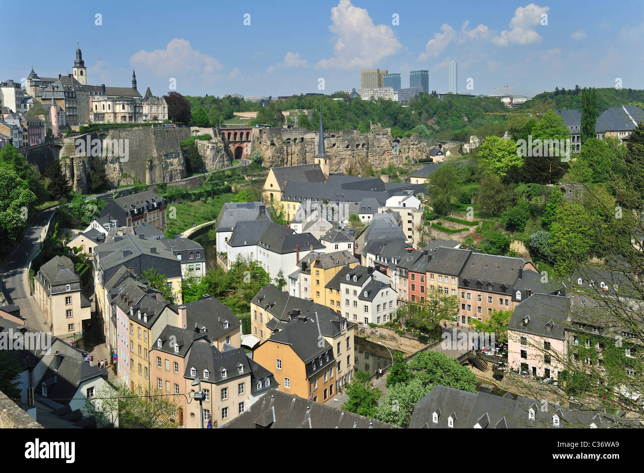 View over the Grund quarter at Luxembourg, Grand Duchy of Luxembourg - Stock Image