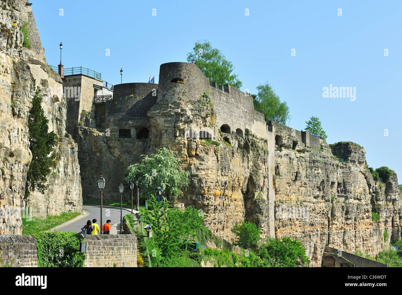 The Bock rock fortifications and casemates in Luxembourg, Grand Duchy of Luxembourg - Stock Image