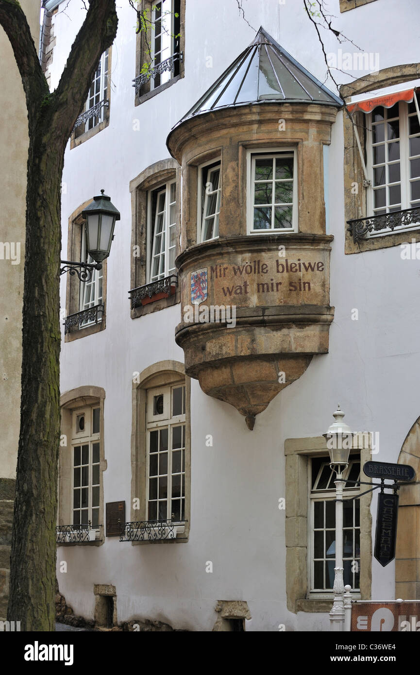 Medieval facade at the Marché aux Poissons in Luxembourg, Grand Duchy of Luxembourg - Stock Image