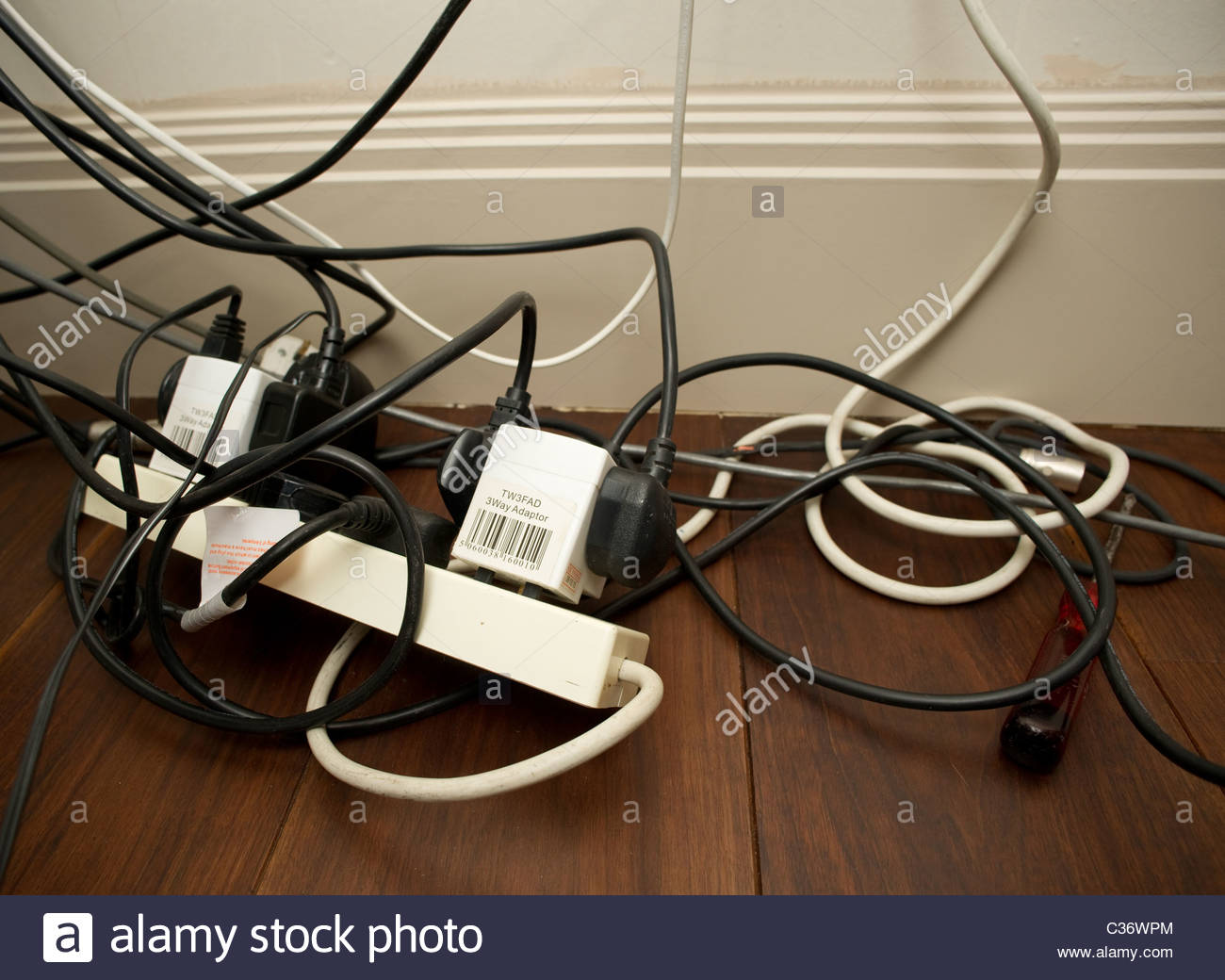 Electrical Wiring Stock Photos Images Alamy Wires And Power Plug Protruding From A Wall During Rewiring By An Messy Appliances Image