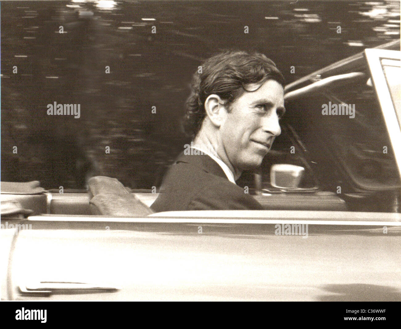 That Aston Martin always was a 'Bird Puller' - Prince Charles too was not always that grey old man. Here - Stock Image